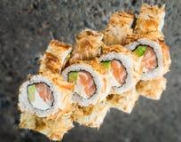 Bonito roll with salmon. Avocado and cream cheese Royalty Free Stock Photos