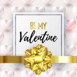 Bonito seja minha bandeira do Valentim com cor lustrosa metálica do cinza dos corações 3d Cartaz festivo lustroso da Web para fel ilustração stock