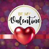 Bonito seja minha bandeira do Valentim com coração 3d vermelho brilhante metálico no teste padrão brilhante de Bokeh Cartaz festi ilustração do vetor