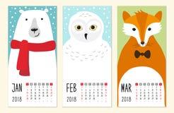 2018 bonitos calendar páginas com caráteres engraçados dos animais dos desenhos animados ilustração royalty free