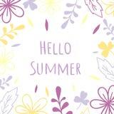 Bonjour été Cadre floral ultra-violet de vecteur Carte d'illustration ou d'invitation de mariage, copie illustration stock