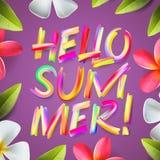 Bonjour été, calibre coloré de vacances, floral Photo stock