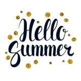 Bonjour été, conception de bannière de saison de calligraphie, illustration illustration de vecteur
