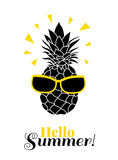 Bonjour été ! Dirigez l'ananas utilisant les lunettes de soleil colorées sur le lement tropical de vacances d'été Grand pour des  Photos libres de droits
