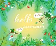 Bonjour été Image pendant l'heure d'été avec les animaux et les feuilles mignons illustration de vecteur
