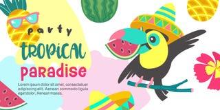Bonjour été Paradis tropical de partie Illustration de vecteur, invi Photo stock