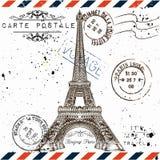 Bonjour巴黎 葡萄酒明信片的模仿与埃菲尔拖曳的 库存图片