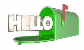 Bonjour accueil de Word de boîte aux lettres de salutation Image stock