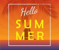 Bonjour affiche d'été avec le yacht de navigation Image libre de droits