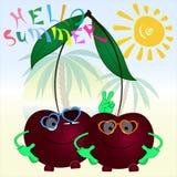 Bonjour affiche de bande dessinée de cerises de l'été deux illustration libre de droits