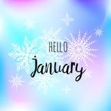 Bonjour affiche de janvier avec des snowlakes sur le fond bleu de gradint Copie de motivation pour le calendrier, planeur Photo stock