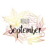 Bonjour affiche de septembre avec les feuilles, le livre, le papier et le crayon Copie de motivation pour le calendrier, planeur, photographie stock