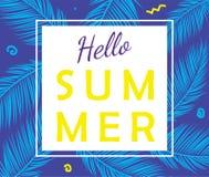 Bonjour affiche de vecteur d'été avec des palmettes Images libres de droits