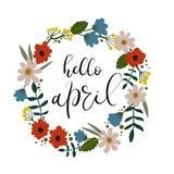 Bonjour April Hand Lettering Greeting Card Texte manuscrit Guirlande florale Image libre de droits