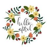 Bonjour April Hand Lettering Greeting Card Texte manuscrit Guirlande florale Images libres de droits