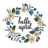 Bonjour April Hand Lettering Greeting Card Texte manuscrit Guirlande florale Images stock