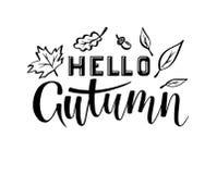 Bonjour aspiration de main de lettrage d'automne illustration libre de droits