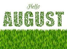 Bonjour auguste Police décorative faite dans les remous et les éléments floraux Photographie stock libre de droits
