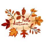 Bonjour automne, bannière d'aquarelle des feuilles d'isolement sur le dos de blanc illustration stock