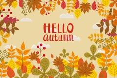 Bonjour automne, fond avec les feuilles en baisse, jaune, orange, brun, chute, lettrage, calibre pour l'affiche, bannière illustration stock