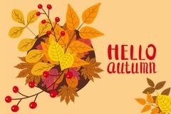 Bonjour automne, fond avec les feuilles en baisse, jaune, orange, brun, chute, lettrage, calibre pour l'affiche, bannière illustration libre de droits