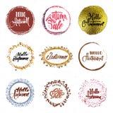 Bonjour automne - label calligraphique d'insigne de lettrage pour la conception Photos libres de droits