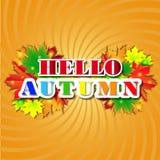 Bonjour Autumn Background Lames d'automne lumineuses Vous pouvez placer votre texte au centre Images libres de droits