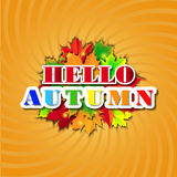Bonjour Autumn Background Lames d'automne lumineuses Vous pouvez placer votre texte au centre Photos stock