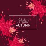 Bonjour Autumn Watercolor Floral Design avec la feuille d'érable Bannière saisonnière d'automne, affiche, copie, vente, calibre d Photographie stock libre de droits