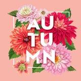 Bonjour Autumn Watercolor Floral Design avec la feuille d'érable Bannière saisonnière d'automne, affiche, copie, vente, calibre d Image stock