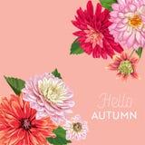 Bonjour Autumn Watercolor Floral Design avec la feuille d'érable Bannière saisonnière d'automne, affiche, copie, vente, calibre d Photos stock