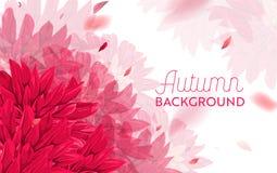 Bonjour Autumn Watercolor Floral Design avec la feuille d'érable Bannière saisonnière d'automne, affiche, copie, vente, calibre d Images libres de droits