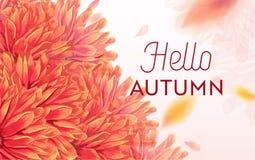 Bonjour Autumn Watercolor Floral Design avec la feuille d'érable Bannière saisonnière d'automne, affiche, copie, vente, calibre d Photos libres de droits