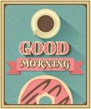 Bonjour avec du café et le beignet Photos stock