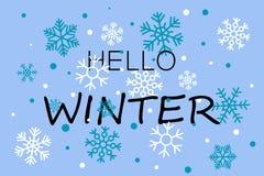 Bonjour bannière bleue d'hiver avec des flocons de neige illustration libre de droits