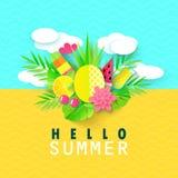 Bonjour bannière d'été avec les éléments doux de vacances de voyage Art de papier Plantes tropicales, fleurs, ananas, crème glacé Images stock