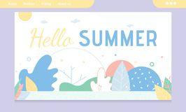 Bonjour bannière de salutation d'été avec la conception abstraite illustration libre de droits