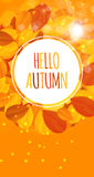 Bonjour brillant Autumn Natural Leaves Background Illustration de vecteur Image libre de droits