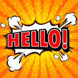 Bonjour ! - Bulle comique de la parole, bande dessinée Photos libres de droits