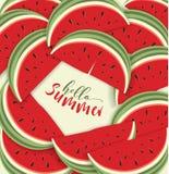Bonjour carte d'été avec le melon Photographie stock libre de droits