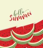 Bonjour carte d'été avec le melon Image libre de droits