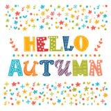 Bonjour carte d'automne Fond de paysage d'automne Photographie stock libre de droits