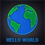 Bonjour carte de conception de l'avant-projet du monde Photos libres de droits
