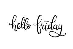 Bonjour carte de lettrage de main de vendredi Images stock