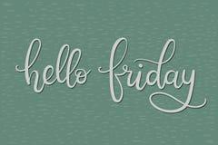Bonjour carte de lettrage de main de vendredi Photo libre de droits
