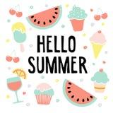 Bonjour carte de voeux d'été avec la pastèque, la crème glacée, les cerises et la boisson, illustration illustration libre de droits