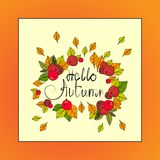 Bonjour carte de voeux d'automne de lettrage d'aspiration d'Autumn Season Banner With Hand Images stock