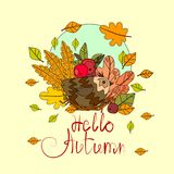 Bonjour carte de voeux d'automne de lettrage d'aspiration d'Autumn Season Banner With Hand Photos stock