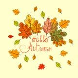 Bonjour carte de voeux d'automne de lettrage d'aspiration d'Autumn Season Banner With Hand Photographie stock