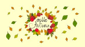 Bonjour carte de voeux d'automne de lettrage d'aspiration d'Autumn Season Banner With Hand Photo stock